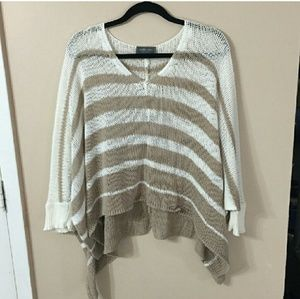 WOODEN SHIPS Striped V-Neck Poncho w/ Cuffs S/M